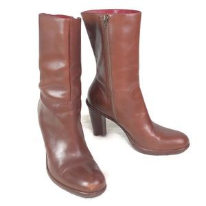 Tommy Hilfiger brown leather zip up boots size 9.5